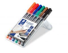 Permanent marker 6 culori/set, varf 1,0 mm, Lumocolor 317WP6 Staedtler