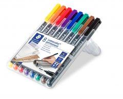 Permanent marker 8 culori/set, varf 1,0 mm, Lumocolor 317WP8 Staedtler