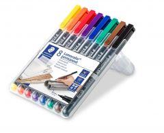 Permanent marker 8 culori/set, varf 0,4 mm, Lumocolor 313WP8 Staedtler