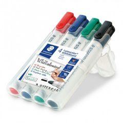 Whiteboard marker 4 culori/set, varf 2,0 mm, Lumocolor 351WP4 Staedtler