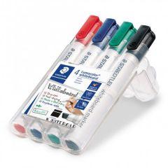 Whiteboard marker 4 culori/set, varf tesit 2,0 mm, Lumocolor 351BWP4 Staedtler