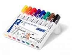 Whiteboard marker 8 culori/set, varf 2,0 mm, Lumocolor 351WP8 Staedtler
