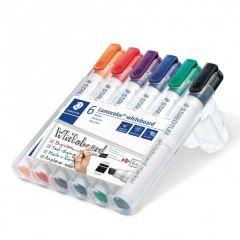 Whiteboard marker 6 culori/set, varf tesit 2,0 mm, Lumocolor 351BWP6 Staedtler