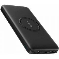 Baterie externa, 10000mAh, conectivitate USB si USB-C, incarcare wireless, negru, Anker PowerCore