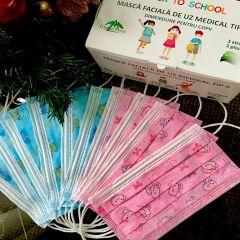 Masca medicinala de protectie pentru copii, tip 2, in 3 straturi, roz, 50buc/set (certificata CE)