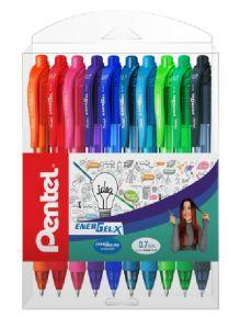 Pix cu gel retractabil, 10culori/set, varf 0,7mm, Pentel Energel X 107