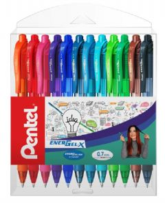 Pix cu gel retractabil, 12culori/set, varf 0,7mm, Pentel Energel X 107