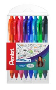 Pix cu gel retractabil, 8culori/set, varf 0,7mm, Pentel Energel X 107