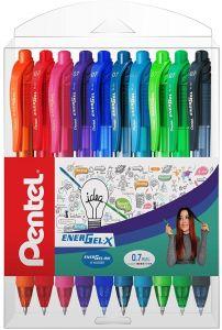 Pix cu gel retractabil, 10culori/set, varf 0,7mm, Pentel Energel X107