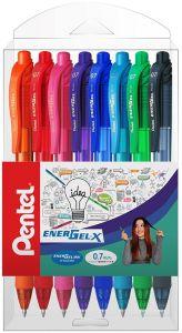 Pix cu gel retractabil, 8culori/set, varf 0,7mm, Pentel Energel X107