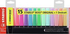 Textmarker 15 culori/set, suport, Boss Original Stabilo