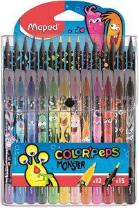 Set creioane colorate 15culori/set + carioci 12culori/set, Color Peps Monsters Maped