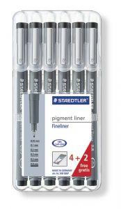 Liner negru, 6 buc/set, Pigment Liner 308 Staedtler - ST-308-SB6P