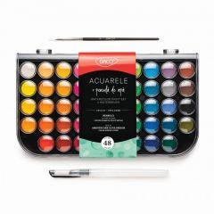 Acuarele pe baza de apa, 48 culori, pensula, AR480 Daco