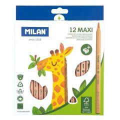 Creioane colorate 12culori/set + ascutitoare, Maxi FSC Milan