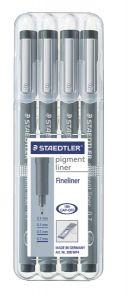 Liner negru, 4 buc/set, Pigment Liner 308 Staedtler - ST-308-WP4