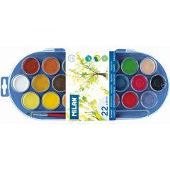 Acuarele pe baza de apa, 22 culori + pensula, pastila 30mm, pensula, Milan