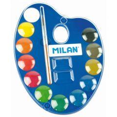 Acuarele pe baza de apa, 12 culori, pastila 25mm, pensula, Milan