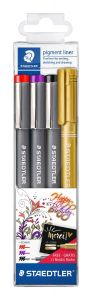 Liner 3 culori/set, varf 0.5mm, Pigment Liner 308 + marker metalic auriu Staedtler - ST-308-SWP3P