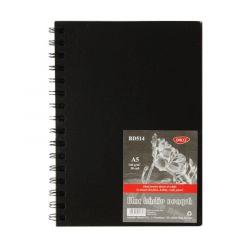 Bloc desen cu spira A5, 30file, 140g/mp, hartie neagra, BD514 Daco