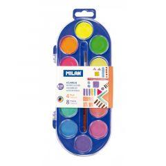 Acuarele pe baza de apa, 12 culori + pensula, pastila 30mm, Milan