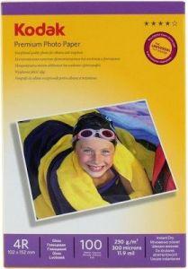 Hartie photo ink jet glossy 10x15cm, 230g, 100 coli/top, Premium Kodak