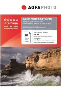 Hartie photo ink jet glossy A4, 240g, 20 coli/top, Agfa
