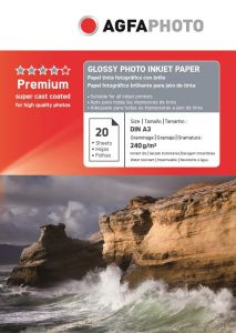 Hartie photo ink jet glossy A3, 240g, 20 coli/top, Agfa
