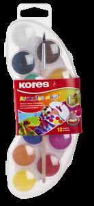 Acuarele pe baza de apa, 12 culori, pastila 25mm, cu pensula, Mini Kores