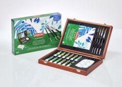 Acuarele pe baza de apa, 12culori/set + pensule, 12ml/culoare, cutie lemn, Derwent Academy
