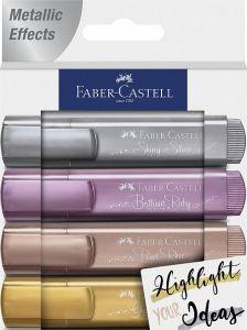 Textmarker 4 culori metalizate/set (auriu, argintiu, rose, rubiniu), Faber Castell-FC154623