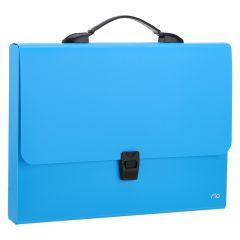 Servieta plastic albastru neon A4, cotor 40mm, Deli