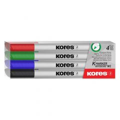 Whiteboard marker 4 buc/set, varf 1,0 mm, Slim Kores