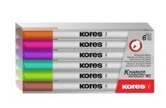 Whiteboard marker 6 buc/set, varf 1,0 mm, Slim Kores