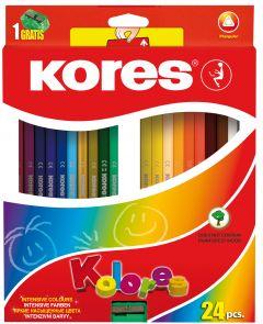Creioane colorate 24culori/set + ascutitoare, Kores-KO93324