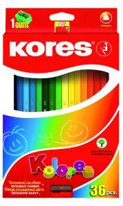 Creioane colorate 36culori/set + ascutitoare, Kores-KO93336