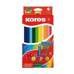 Creioane colorate 12culori/set +ascutitoare Jumbo Kores- KO93512