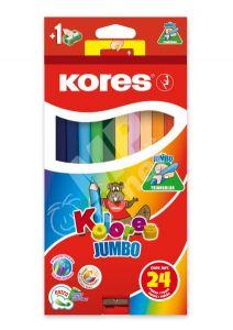 Creioane colorate 24culori/set +ascutitoare Jumbo Kores-KO93524
