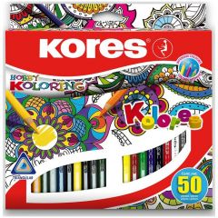 Creioane colorate 50culori/set Kores-KO93350