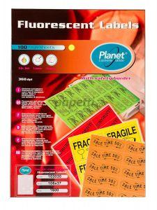 Etichete autoadezive fluorescente 16/A4, 105x37mm, 100coli/cutie, verde, Planet