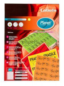 Etichete autoadezive color 16/A4, 105x37mm, 100coli/cutie, rosu, Planet