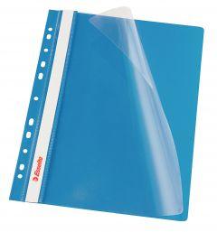 Dosar plastic cu sina si multiperforatii, albastru, Esselte