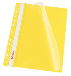 Dosar plastic cu sina si multiperforatii, galben, Esselte