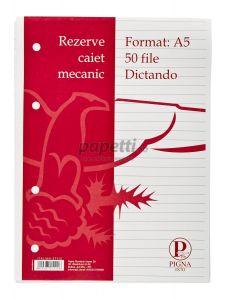 Rezerve ptr.caiet mecanic A5, 50 file/set, dictando Pigna