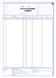 Aviz de insotire a marfii A4, 3 exemplare