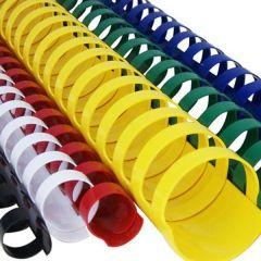 Inele din plastic, 16mm, galben, pentru indosariere