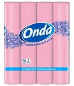Hartie igienica roz, 2 straturi, 40role/set, Onda