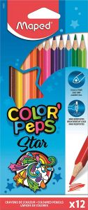 Creioane colorate 12culori/set, Color Peps Star Maped
