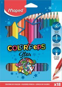 Creioane colorate 18culori/set, Color Peps Star Maped