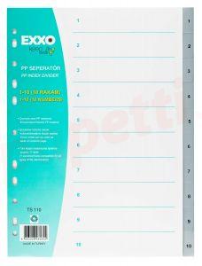 Separatoare plastic A4 1-10 gri, Exxo